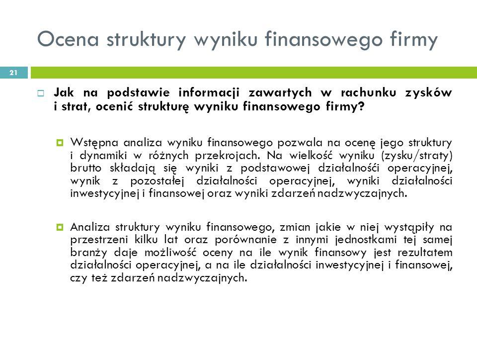Ocena struktury wyniku finansowego firmy 21 Jak na podstawie informacji zawartych w rachunku zysków i strat, ocenić strukturę wyniku finansowego firmy.