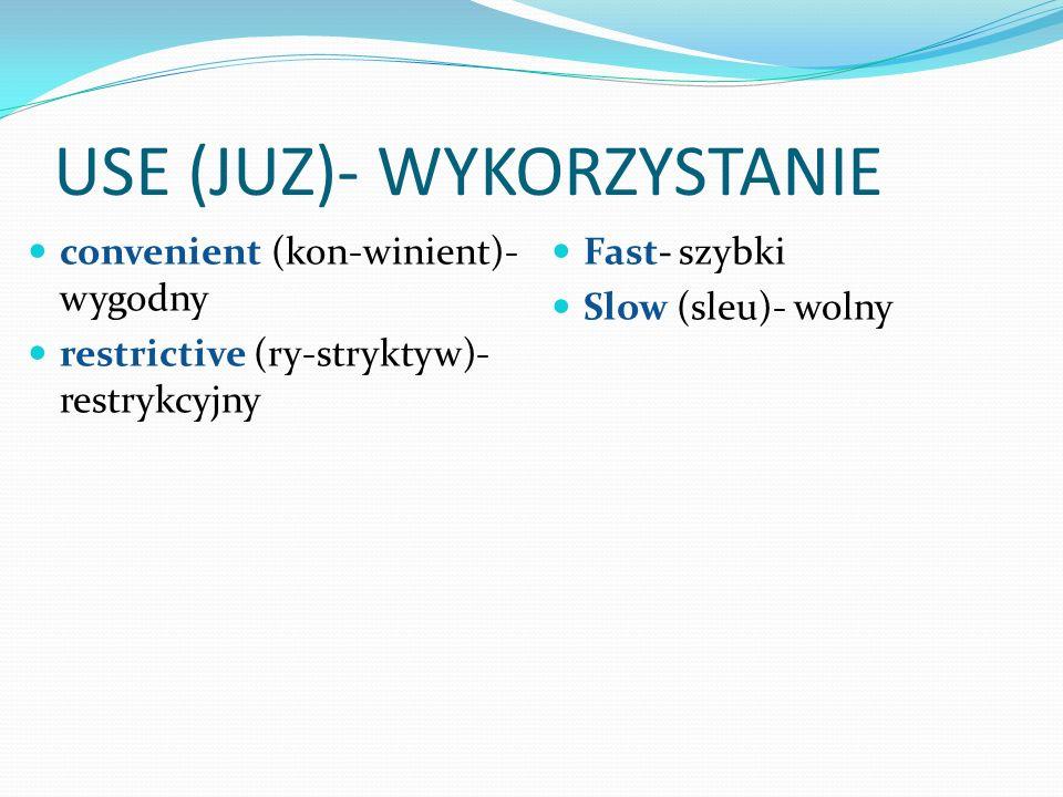 USE (JUZ)- WYKORZYSTANIE convenient (kon-winient)- wygodny restrictive (ry-stryktyw)- restrykcyjny Fast- szybki Slow (sleu)- wolny