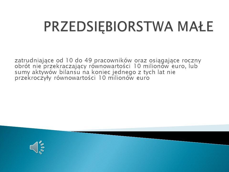 zatrudniające do 9 pracowników oraz osiągające roczny obrót nie przekraczający równowartości 2 milionów euro, lub sumy aktywów bilansu na koniec jedne
