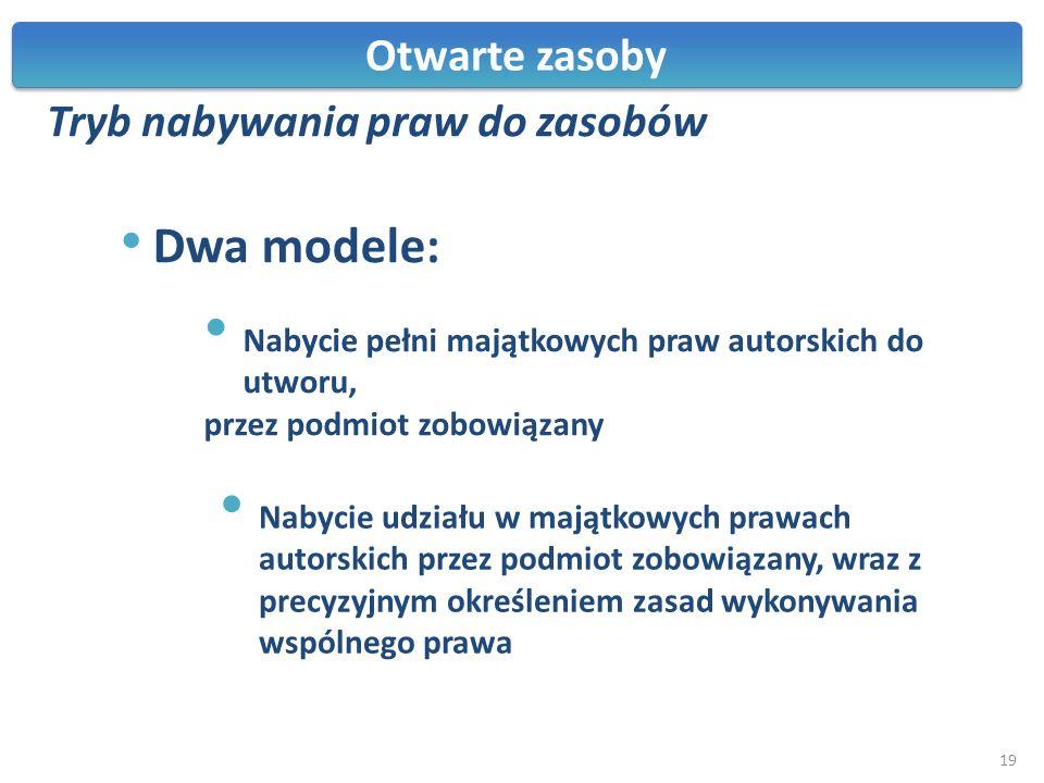 Otwarte zasoby Tryb nabywania praw do zasobów Dwa modele: Nabycie pełni majątkowych praw autorskich do utworu, przez podmiot zobowiązany Nabycie udzia