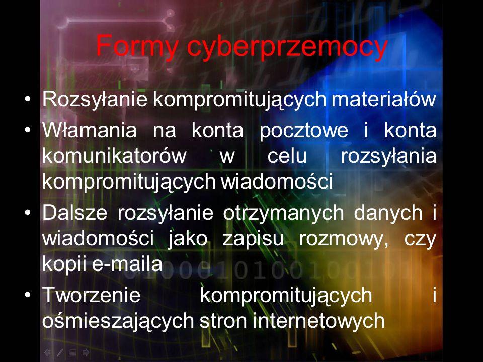 Formy cyberprzemocy Rozsyłanie kompromitujących materiałów Włamania na konta pocztowe i konta komunikatorów w celu rozsyłania kompromitujących wiadomo