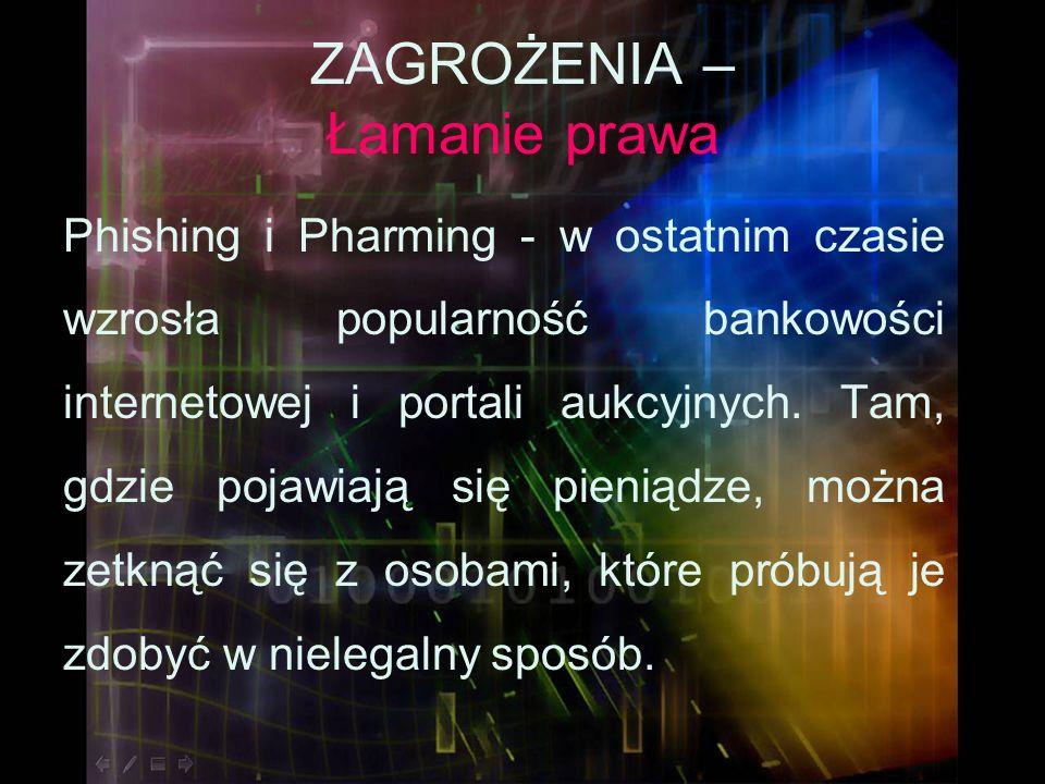 ZAGROŻENIA – Łamanie prawa Phishing i Pharming - w ostatnim czasie wzrosła popularność bankowości internetowej i portali aukcyjnych. Tam, gdzie pojawi