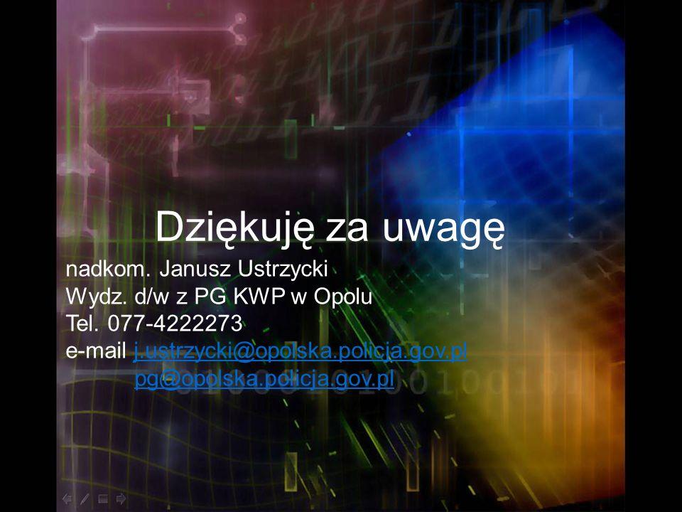 Dziękuję za uwagę nadkom. Janusz Ustrzycki Wydz. d/w z PG KWP w Opolu Tel. 077-4222273 e-mail j.ustrzycki@opolska.policja.gov.plj.ustrzycki@opolska.po