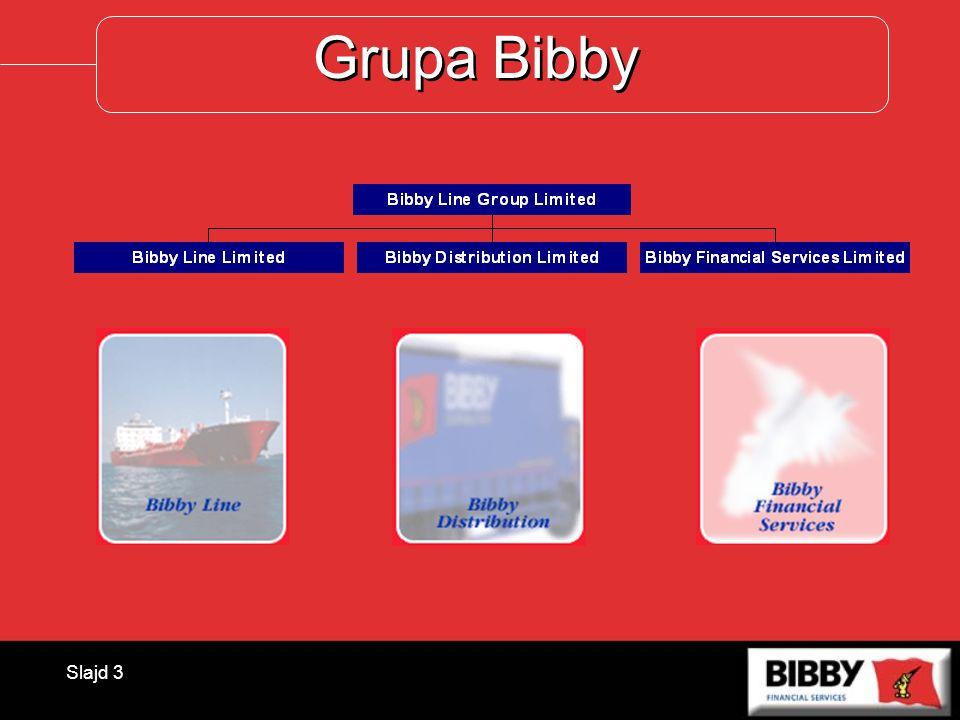 Slajd 4 Grupa Bibby 2004 Łączne przychody BLGPLN1 496,64 mln Wynik finansowyPLN 70,68 mln Suma aktywówPLN3 785,63 mln Wartość faktorowanych wierzytelności PLN 16 237 mln PolskaPLN 214 mln Liczba klientówok.