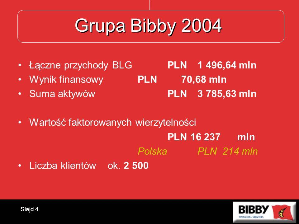 Slajd 4 Grupa Bibby 2004 Łączne przychody BLGPLN1 496,64 mln Wynik finansowyPLN 70,68 mln Suma aktywówPLN3 785,63 mln Wartość faktorowanych wierzyteln