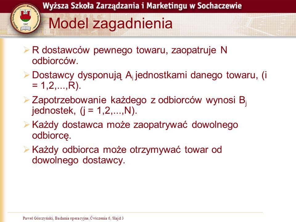 Paweł Górczyński, Badania operacyjne, Slajd 3Paweł Górczyński, Badania operacyjne, Ćwiczenia 6, Slajd 3 Model zagadnienia R dostawców pewnego towaru,
