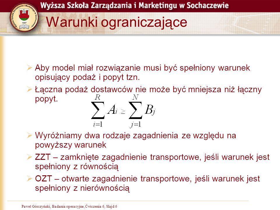 Paweł Górczyński, Badania operacyjne, Slajd 6Paweł Górczyński, Badania operacyjne, Ćwiczenia 6, Slajd 6 Warunki ograniczające Aby model miał rozwiązan