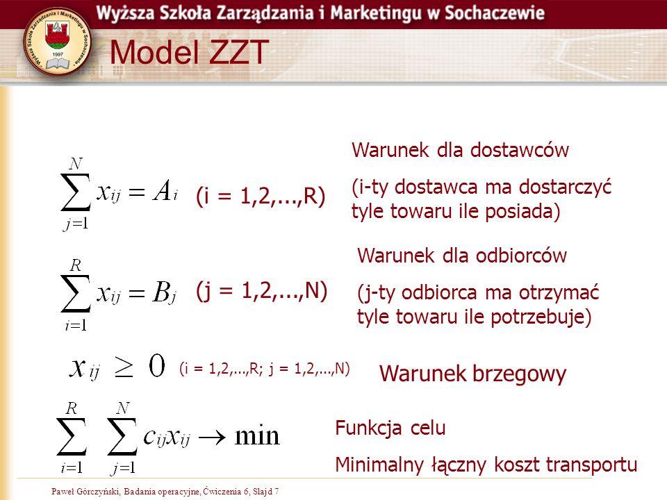 Paweł Górczyński, Badania operacyjne, Slajd 7Paweł Górczyński, Badania operacyjne, Ćwiczenia 6, Slajd 7 Model ZZT (i = 1,2,...,R) Warunek dla dostawcó