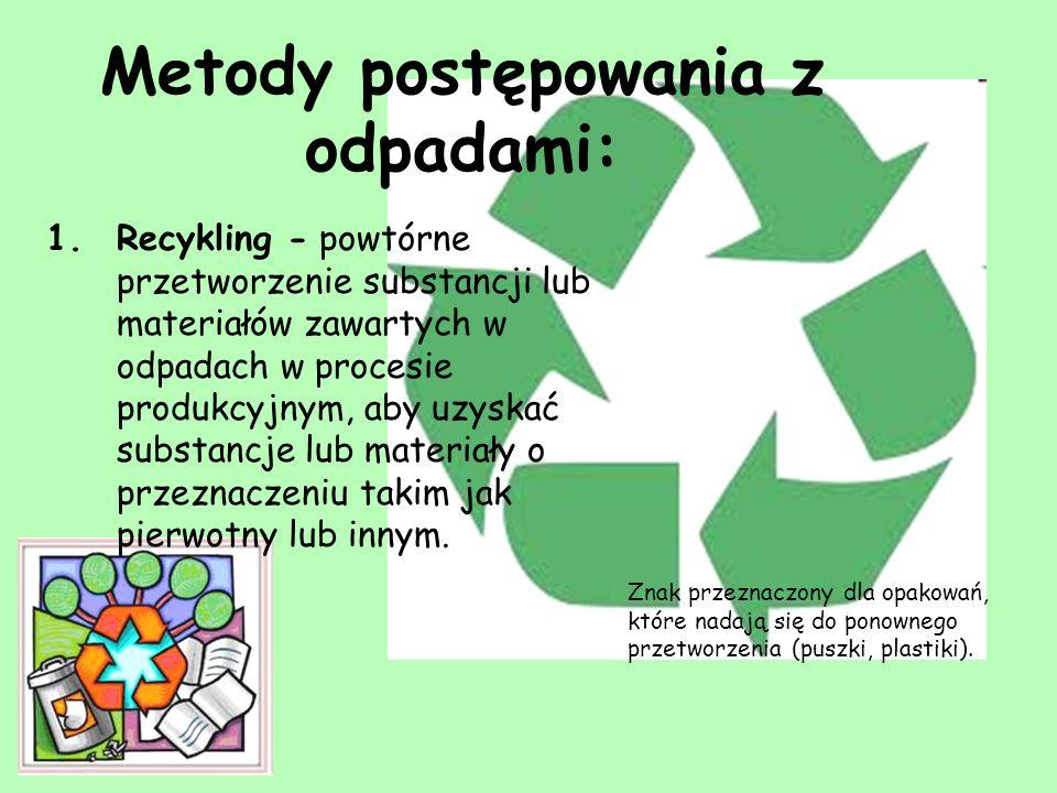 2.Spalanie - termiczne przekształcanie odpadów z odzyskiem energetycznym w celu ich unieszkodliwienia.