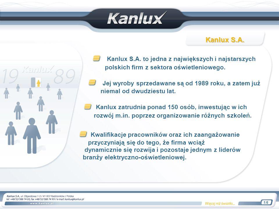 Kanlux S.A. to jedna z największych i najstarszych polskich firm z sektora oświetleniowego. Jej wyroby sprzedawane są od 1989 roku, a zatem już niemal