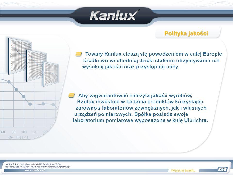Towary Kanlux cieszą się powodzeniem w całej Europie środkowo-wschodniej dzięki stałemu utrzymywaniu ich wysokiej jakości oraz przystępnej ceny.