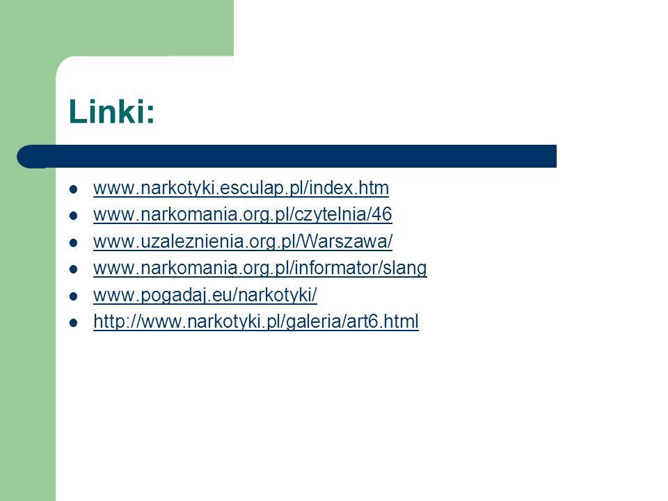 Linki: www.narkotyki.esculap.pl/index.htm www.narkomania.org.pl/czytelnia/46 www.uzaleznienia.org.pl/Warszawa/ www.narkomania.org.pl/informator/slang