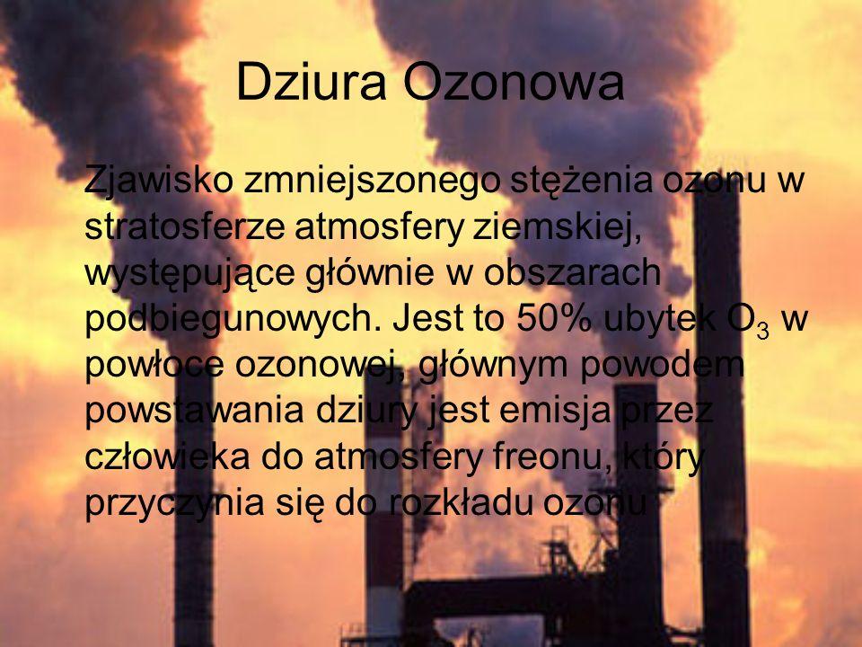 Dziura Ozonowa Zjawisko zmniejszonego stężenia ozonu w stratosferze atmosfery ziemskiej, występujące głównie w obszarach podbiegunowych. Jest to 50% u