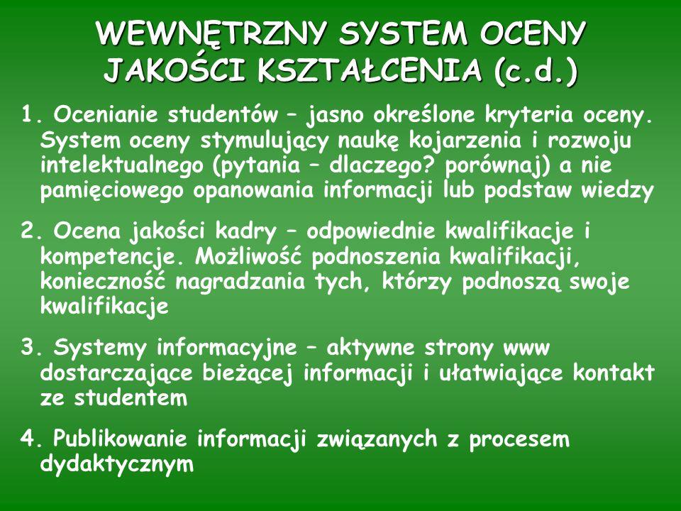WEWNĘTRZNY SYSTEM OCENY JAKOŚCI KSZTAŁCENIA (c.d.) 1.