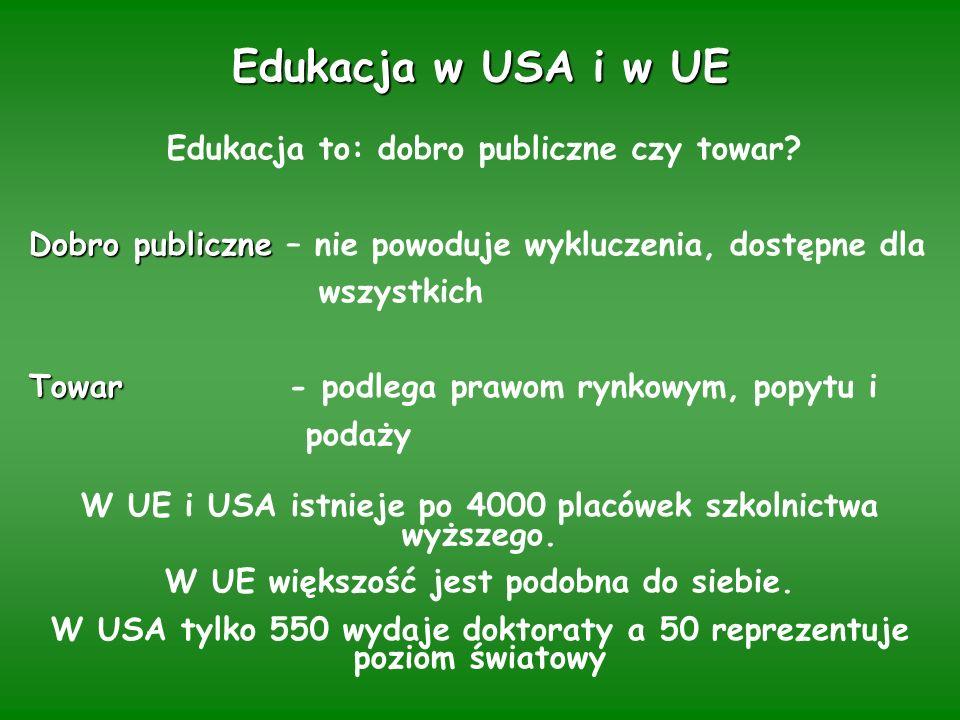 Edukacja w USA i w UE Edukacja to: dobro publiczne czy towar.