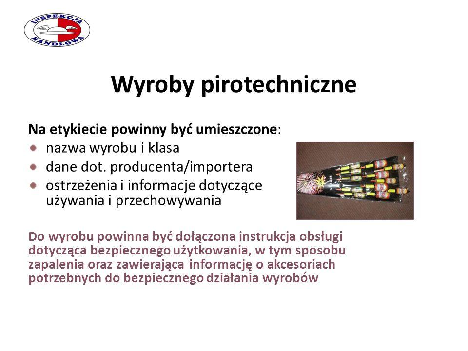 Wyroby pirotechniczne Na etykiecie powinny być umieszczone: nazwa wyrobu i klasa dane dot. producenta/importera ostrzeżenia i informacje dotyczące uży
