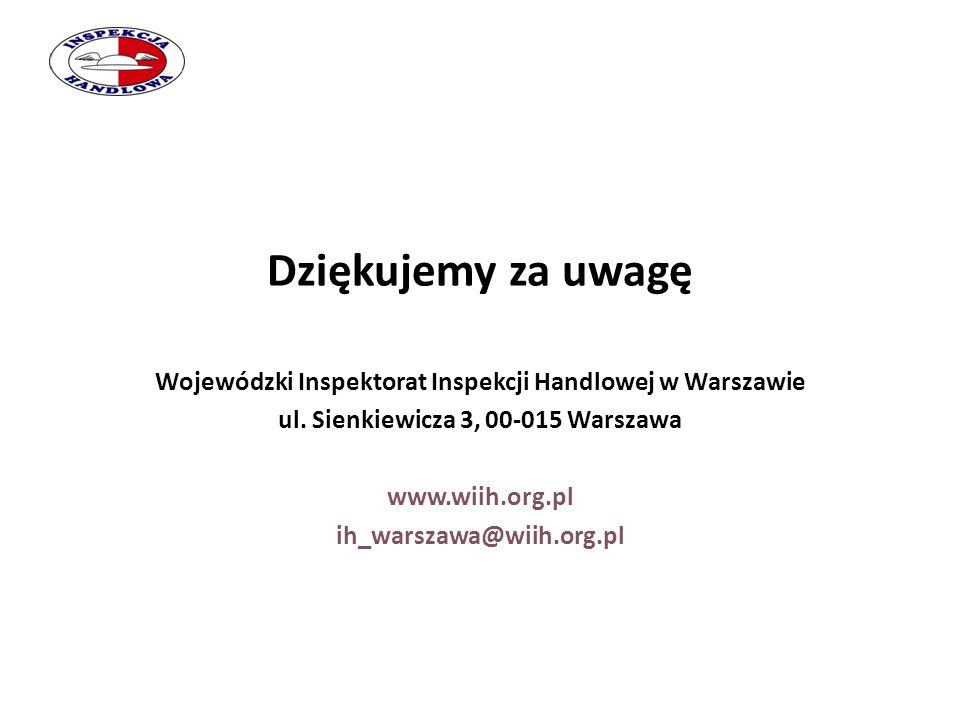 Dziękujemy za uwagę Wojewódzki Inspektorat Inspekcji Handlowej w Warszawie ul. Sienkiewicza 3, 00-015 Warszawa www.wiih.org.pl ih_warszawa@wiih.org.pl