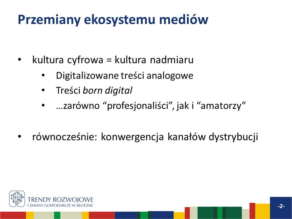 Przemiany ekosystemu mediów kultura cyfrowa = kultura nadmiaru Digitalizowane treści analogowe Treści born digital …zarówno profesjonaliści, jak i amatorzy równocześnie: konwergencja kanałów dystrybucji -2-