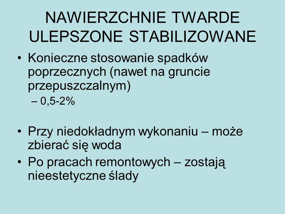 NAWIERZCHNIE TWARDE ULEPSZONE STABILIZOWANE Konieczne stosowanie spadków poprzecznych (nawet na gruncie przepuszczalnym) –0,5-2% Przy niedokładnym wyk