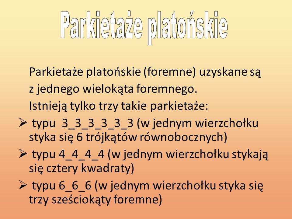 Parkietaże platońskie (foremne) uzyskane są z jednego wielokąta foremnego. Istnieją tylko trzy takie parkietaże: typu 3_3_3_3_3_3 (w jednym wierzchołk