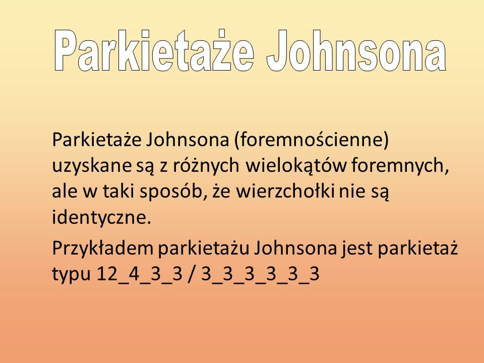 Parkietaże Johnsona (foremnościenne) uzyskane są z różnych wielokątów foremnych, ale w taki sposób, że wierzchołki nie są identyczne. Przykładem parki