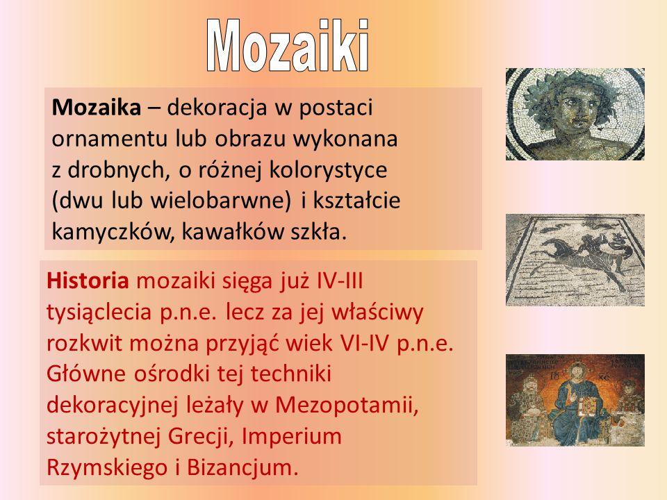 Mozaika – dekoracja w postaci ornamentu lub obrazu wykonana z drobnych, o różnej kolorystyce (dwu lub wielobarwne) i kształcie kamyczków, kawałków szk