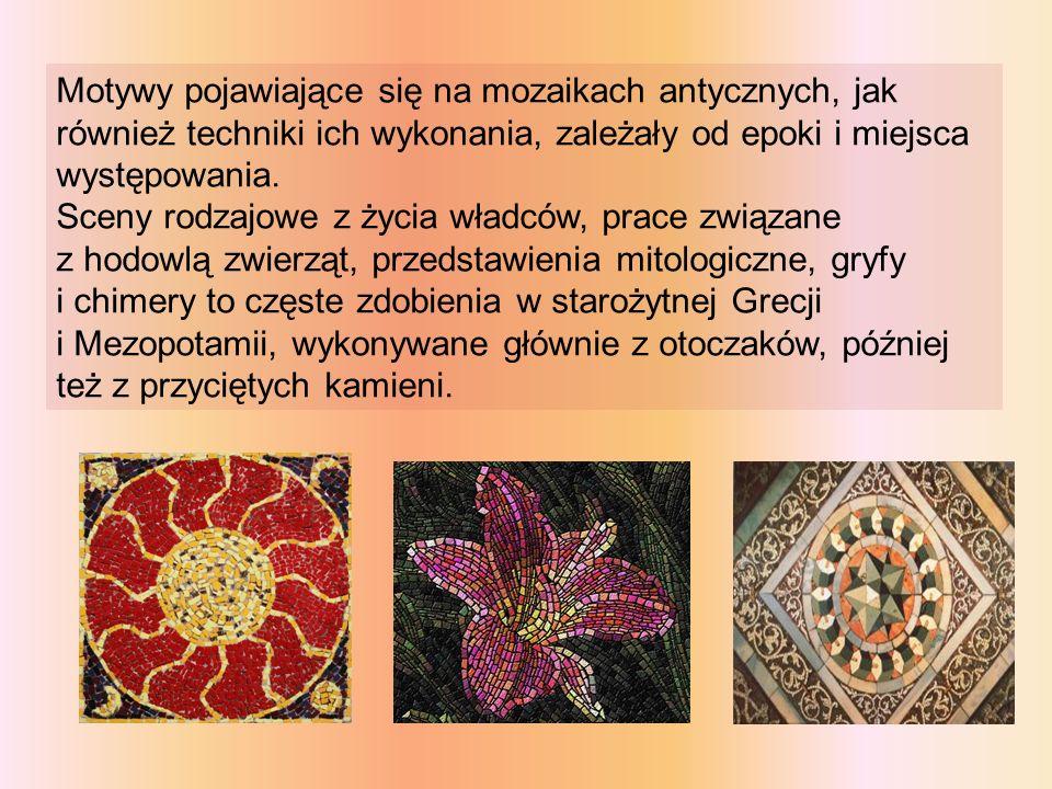 Motywy pojawiające się na mozaikach antycznych, jak również techniki ich wykonania, zależały od epoki i miejsca występowania. Sceny rodzajowe z życia