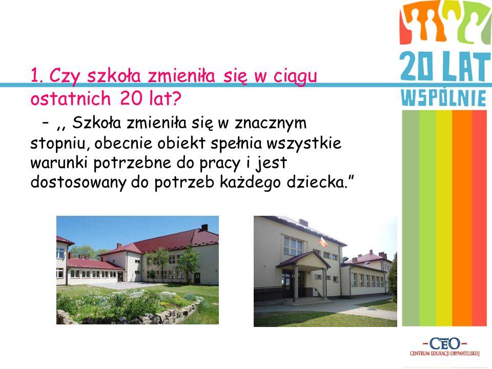 1. Czy szkoła zmieniła się w ciągu ostatnich 20 lat? -,, Szkoła zmieniła się w znacznym stopniu, obecnie obiekt spełnia wszystkie warunki potrzebne do