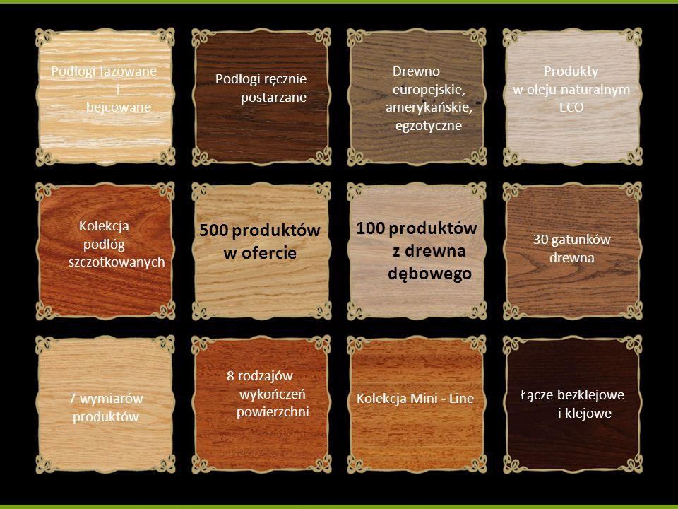 Podłogi fazowane i bejcowane Podłogi ręcznie postarzane Drewno europejskie, amerykańskie, egzotyczne Produkty w oleju naturalnym ECO Kolekcja podłóg s