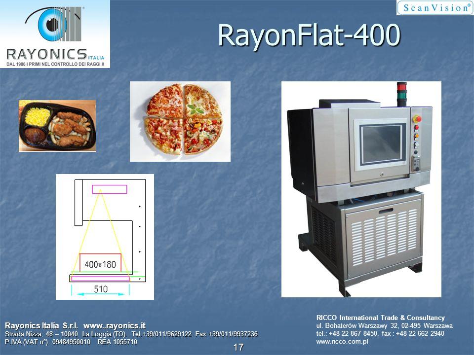 Opakowania płaskie i produkty luzem do 200 mm szerokości Rayonics Italia S.r.l. www..rayonics.it Strada Nizza, 48 – 10040 La Loggia (TO). Tel.+39/011/