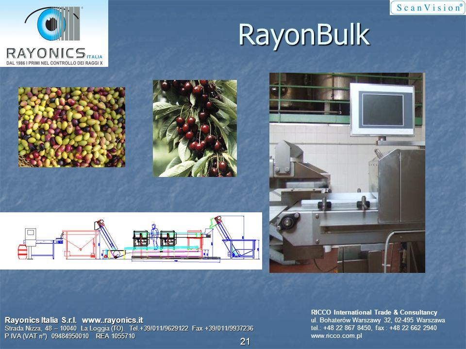 Produkty luzem Rayonics Italia S.r.l. www..rayonics.it Strada Nizza, 48 – 10040 La Loggia (TO). Tel.+39/011/9629122 Fax +39/011/9937236 P.IVA (VAT n°)