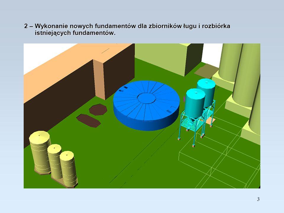 4 3 - Rozbiórka istniejącego zbiornika neutralizacji ścieków i przygotowanie terenu do wykonania ścian szczelinowych.