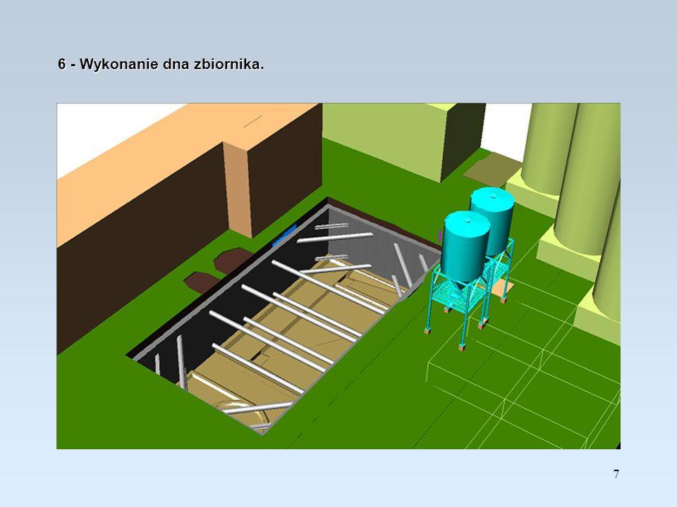 8 7 – Usunięcie rozpór na niższym poziomie i wykonanie ścian zbiornika do poziomu –2,90m.