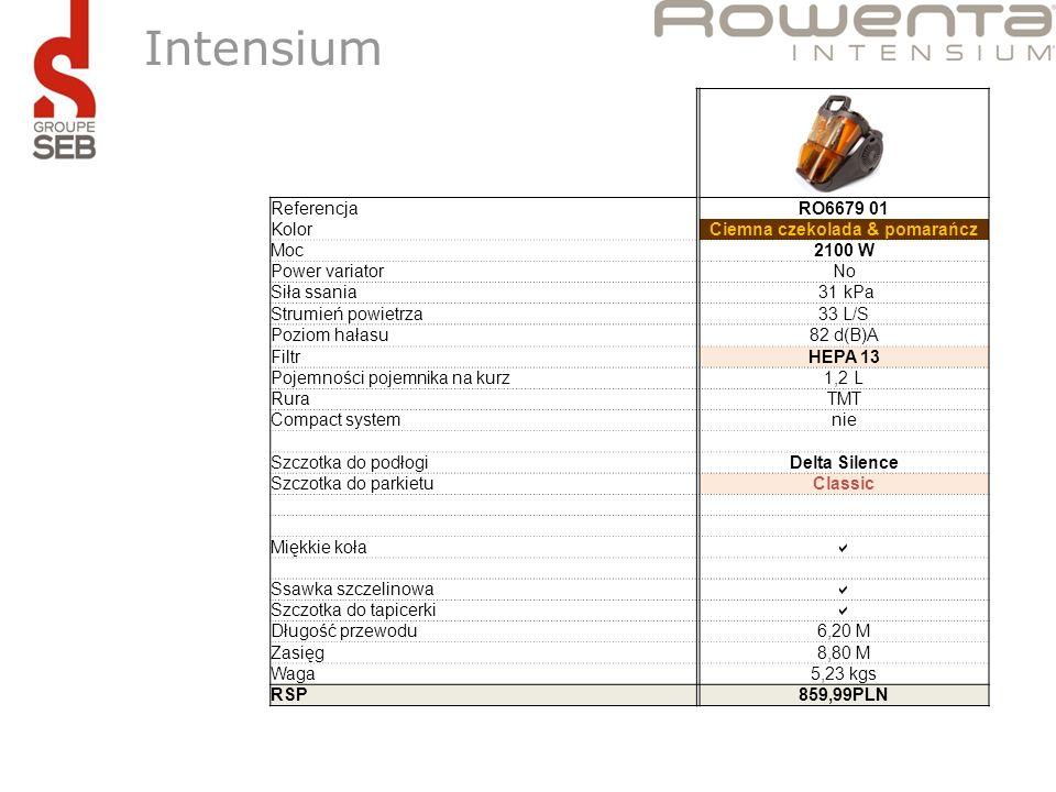 Intensium ReferencjaRO6679 01 KolorCiemna czekolada & pomarańcz Moc2100 W Power variatorNo Siła ssania 31 kPa Strumień powietrza33 L/S Poziom hałasu82