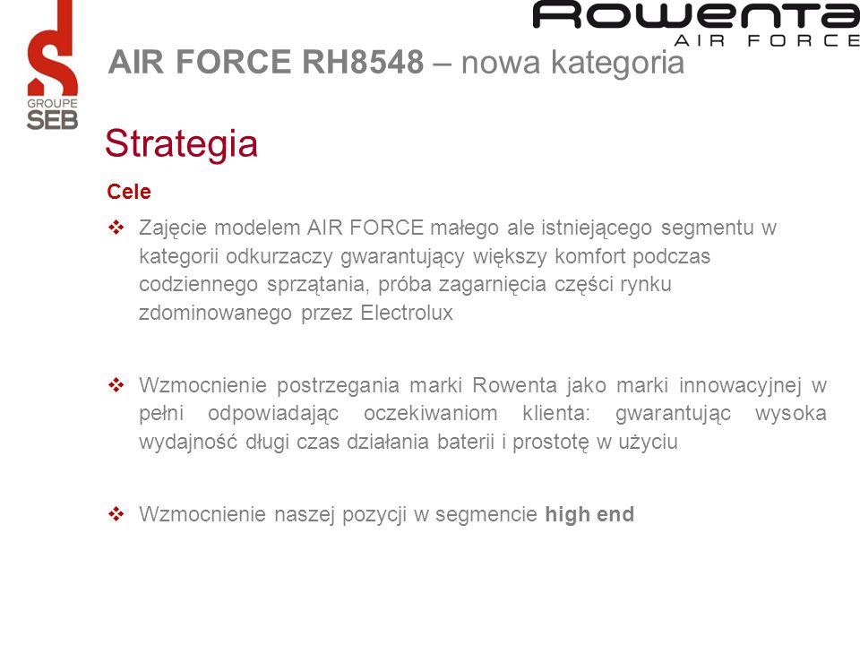 Cele Zajęcie modelem AIR FORCE małego ale istniejącego segmentu w kategorii odkurzaczy gwarantujący większy komfort podczas codziennego sprzątania, pr