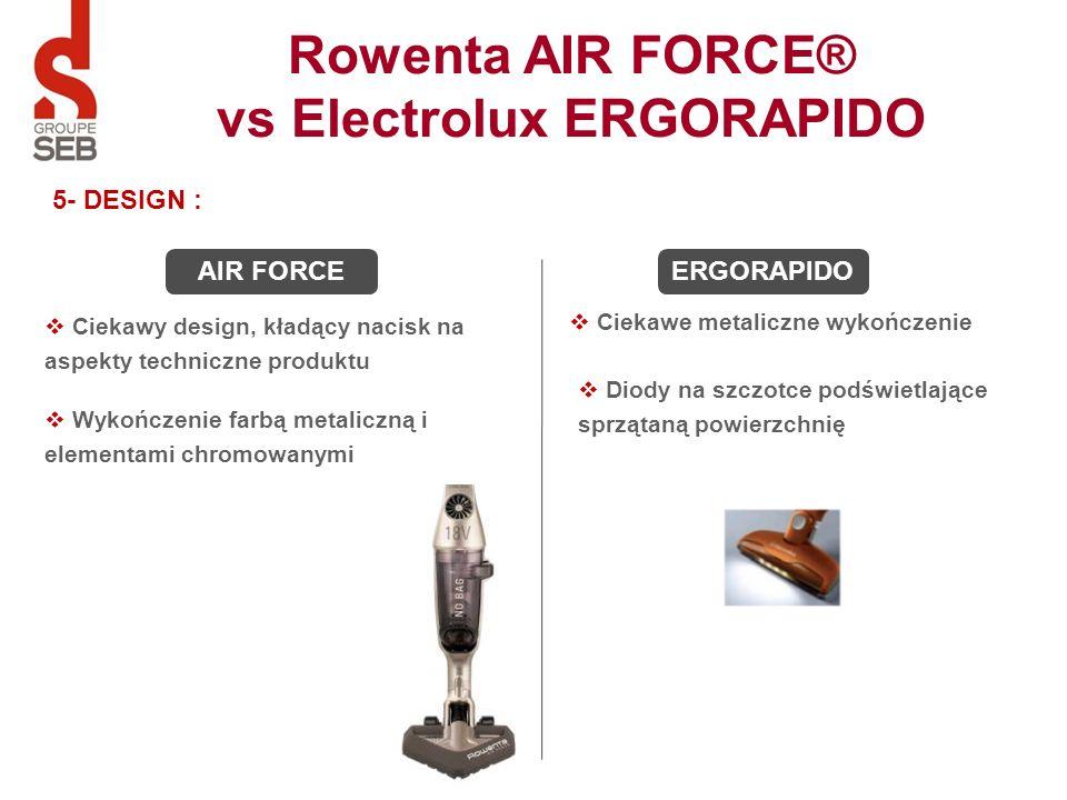 5- DESIGN : Ciekawe metaliczne wykończenie Ciekawy design, kładący nacisk na aspekty techniczne produktu AIR FORCEERGORAPIDO Diody na szczotce podświe