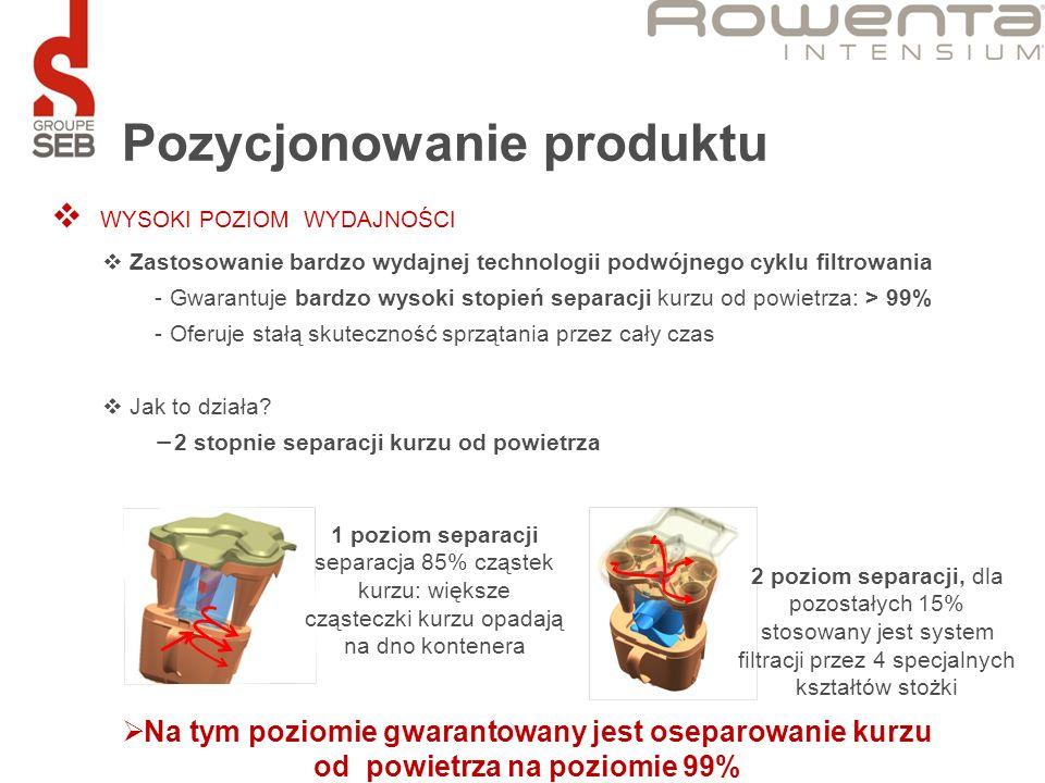 Pozycjonowanie produktu WYSOKI POZIOM WYDAJNOŚCI Zastosowanie bardzo wydajnej technologii podwójnego cyklu filtrowania - Gwarantuje bardzo wysoki stop