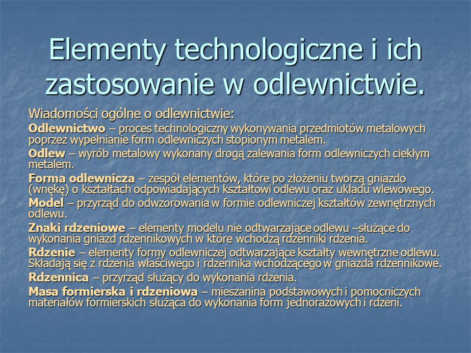 Elementy technologiczne i ich zastosowanie w odlewnictwie. Wiadomości ogólne o odlewnictwie: Odlewnictwo – proces technologiczny wykonywania przedmiot
