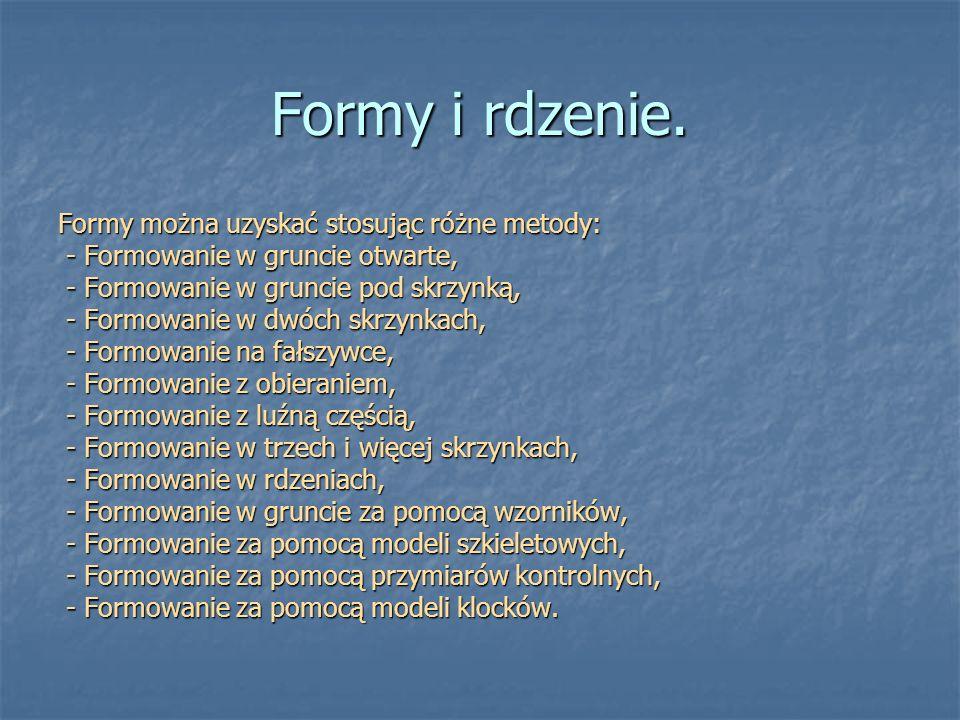 Formy i rdzenie. Formy można uzyskać stosując różne metody: - Formowanie w gruncie otwarte, - Formowanie w gruncie otwarte, - Formowanie w gruncie pod