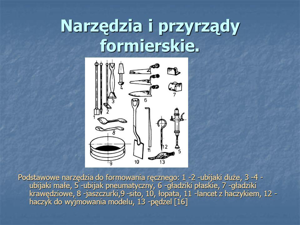 Narzędzia i przyrządy formierskie. Podstawowe narzędzia do formowania ręcznego: 1 -2 -ubijaki duże, 3 -4 - ubijaki małe, 5 -ubijak pneumatyczny, 6 -gł