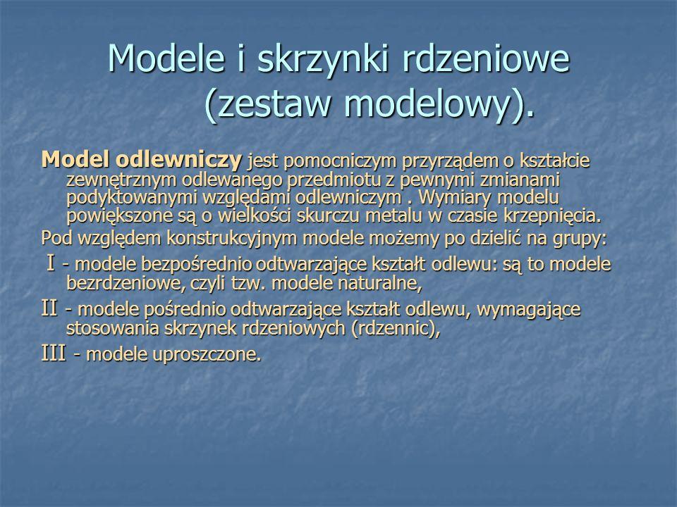 Modele i skrzynki rdzeniowe (zestaw modelowy). Model odlewniczy jest pomocniczym przyrządem o kształcie zewnętrznym odlewanego przedmiotu z pewnymi zm