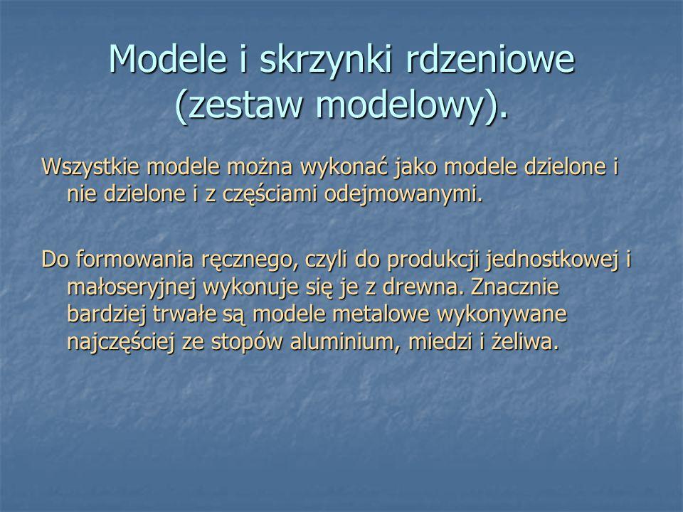 Modele i skrzynki rdzeniowe (zestaw modelowy). Wszystkie modele można wykonać jako modele dzielone i nie dzielone i z częściami odejmowanymi. Do formo