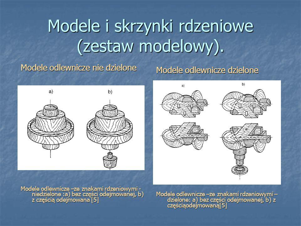 Modele i skrzynki rdzeniowe (zestaw modelowy). Modele odlewnicze nie dzielone Modele odlewnicze –ze znakami rdzeniowymi - niedzielone :a) bez części o