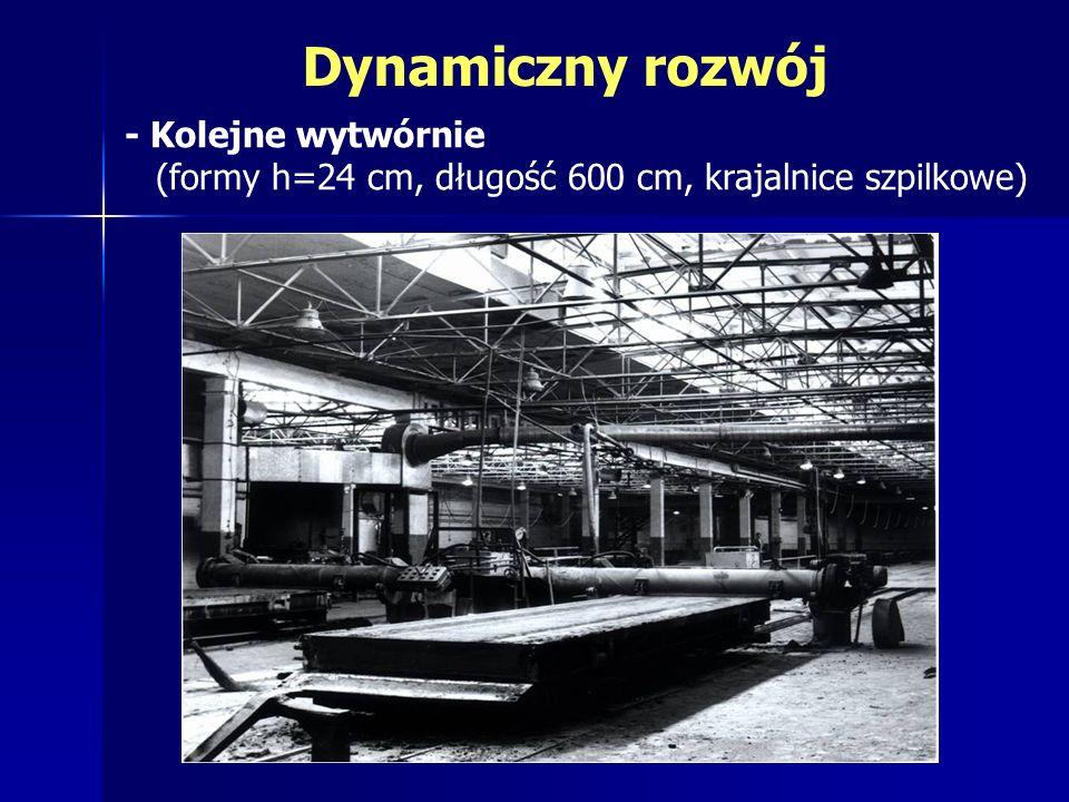 - Kolejne wytwórnie (formy h=24 cm, długość 600 cm, krajalnice szpilkowe) Dynamiczny rozwój