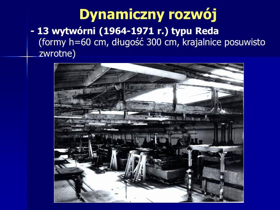 - 13 wytwórni (1964-1971 r.) typu Reda (formy h=60 cm, długość 300 cm, krajalnice posuwisto zwrotne)