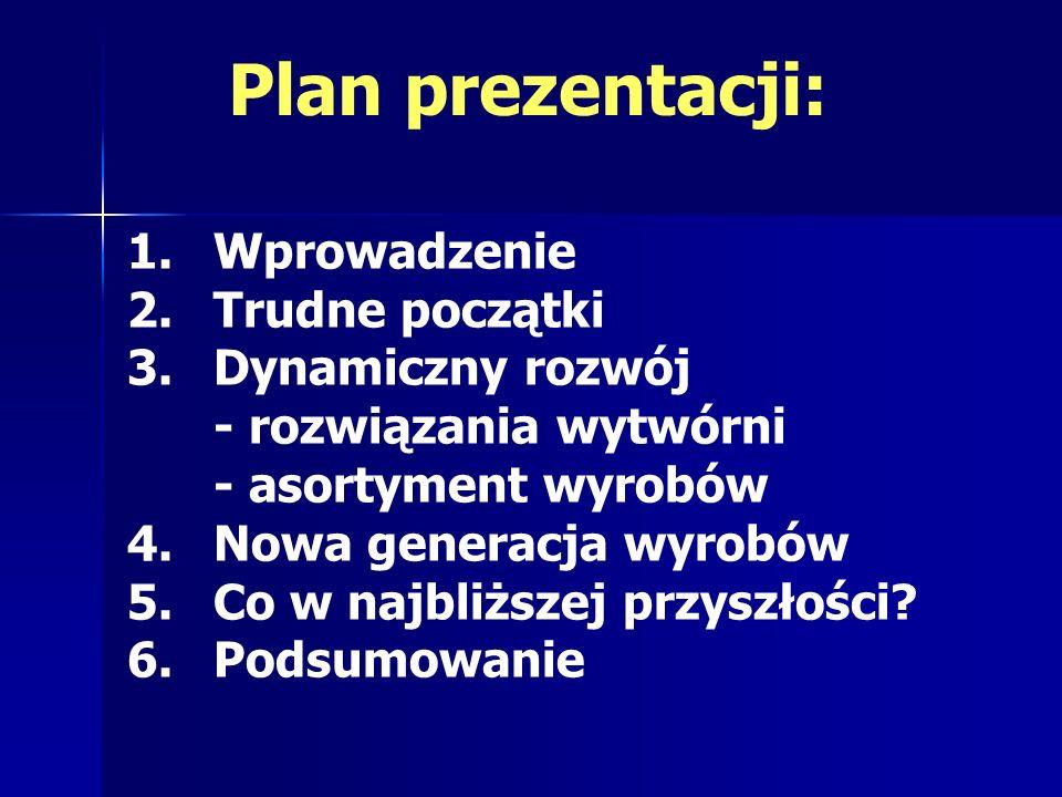 Plan prezentacji: 1.Wprowadzenie 2.Trudne początki 3.Dynamiczny rozwój - rozwiązania wytwórni - asortyment wyrobów 4.Nowa generacja wyrobów 5.Co w naj