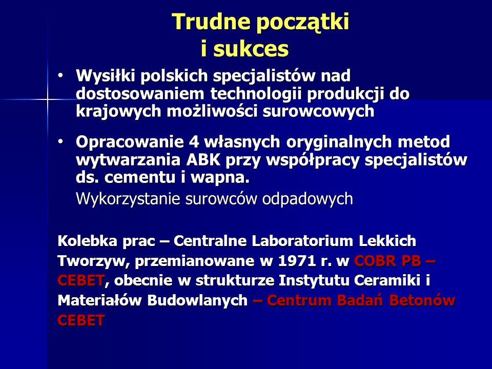 Trudne początki i sukces Trudne początki i sukces Wysiłki polskich specjalistów nad dostosowaniem technologii produkcji do krajowych możliwości surowc