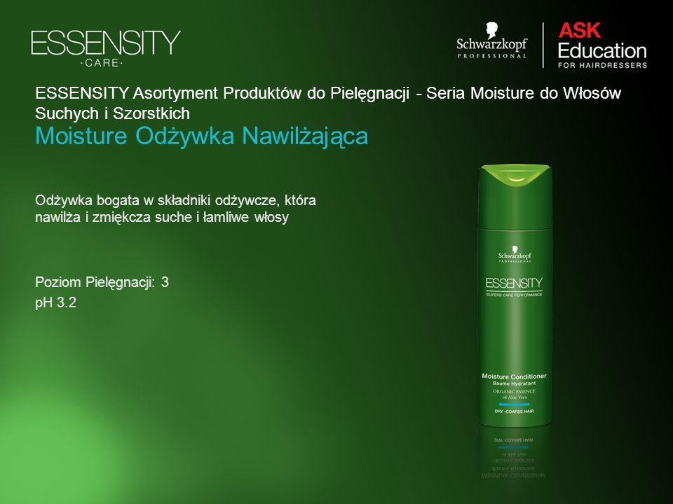 Moisture Odżywka Nawilżająca Odżywka bogata w składniki odżywcze, która nawilża i zmiękcza suche i łamliwe włosy Poziom Pielęgnacji: 3 pH 3.2 ESSENSIT