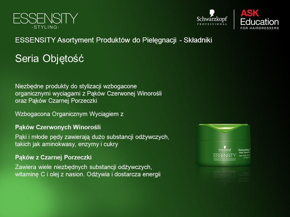 ESSENSITY Asortyment Produktów do Pielęgnacji - Składniki Seria Objętość Niezbędne produkty do stylizacji wzbogacone organicznymi wyciągami z Pąków Cz