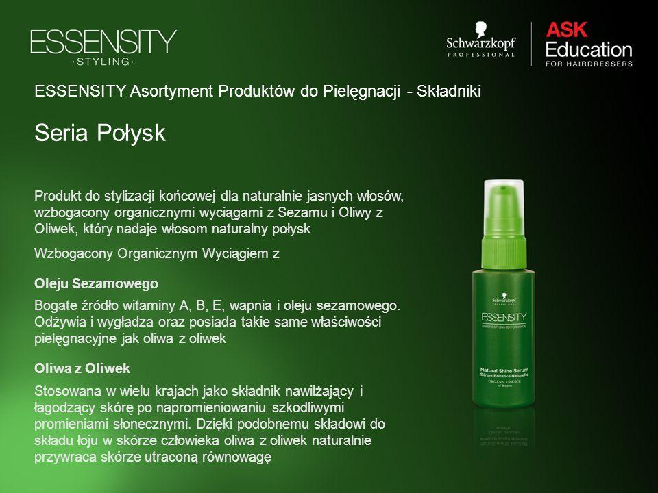 ESSENSITY Asortyment Produktów do Pielęgnacji - Składniki Seria Połysk Produkt do stylizacji końcowej dla naturalnie jasnych włosów, wzbogacony organi